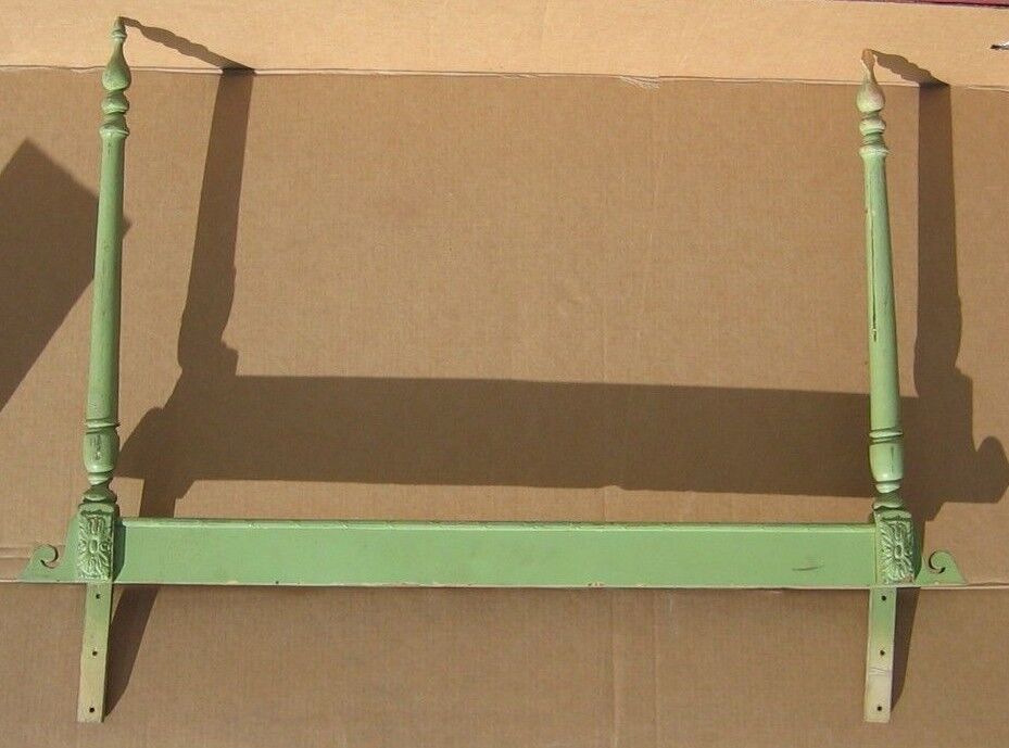 Cute vintage green wooden 2 poster headboard twin for Cute twin bed frames