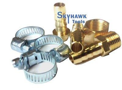"""New 3/8"""" Air Hose Repair Kit Air Tools - Hose End Mender and Clamp 1/4"""" NPT"""