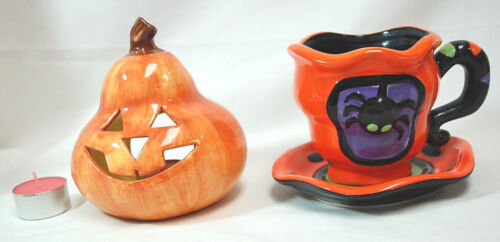 Pumpkin Tealight and Spider Cup & Saucer Ceramic   S8633