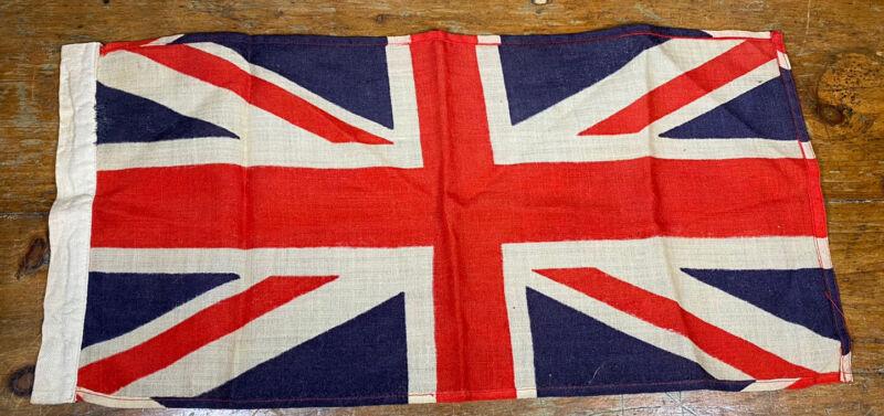 """Vintage Linen UNION JACK Flag 26"""" X 12.5"""" ~ No Grommets ~  Dowel, Pole or Rod"""