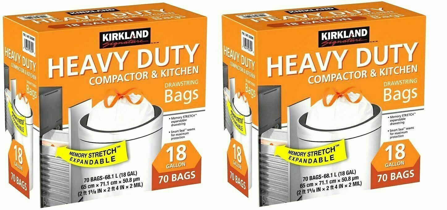 2 Packs Kirkland Heavy Duty Compactor & Kitchen Trash Bags 1