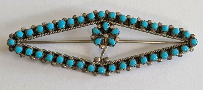 Vintage Zuni Sterling Turquoise Flower Pin Brooch