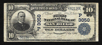 10 1902 Pb The First National Bank Of San Diego  California Ch 3050 Very Fine