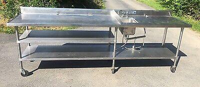 10 Stainless Steel Work Prep Table With Sink Backsplash Undershelf Casters