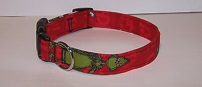 Wet Nose Designs Mean One Mr Grinch Dog Collar Christmas Red Background  ()