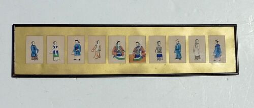10 ANTIQUE CHINESE QING? DYNASTY WATERCOLOR PAINTING PITH RICE PAPER