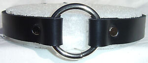 5-8-Premium-Leather-Choker-Center-O-Ring-Goth-Fetish-Choose-From-7-Colors