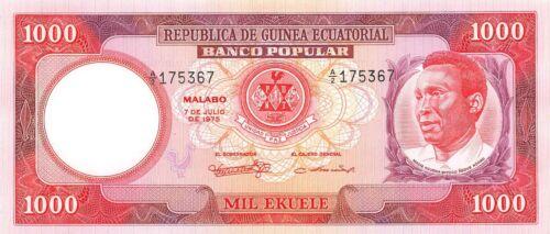 Equatorial Guinea 1000  Ekuele 7.7.1975  P 8  Series A/2 Uncirculated banknote E