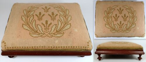 Antique French Needlepoint Cross Stitch Fleur de Lis Turned Wood Legs Foot Stool