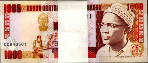 1990 Guinea Bissau 1000 Pesos Bundle Uncirculated 100 Notes