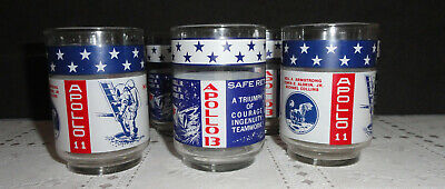 Lot of 7 - NASA Apollo 11 & 13 Libby Drinking Glasses - NOS never used
