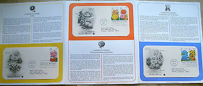 First Day Covers 3 FDC's # 2993-2997  32 cent Garden Flowers 1995 stamps  # 2