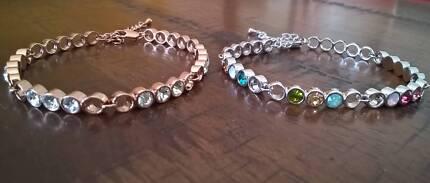 18K GP Tennis Bracelet Chain w/Swarovski Crystal 2 Colour choice