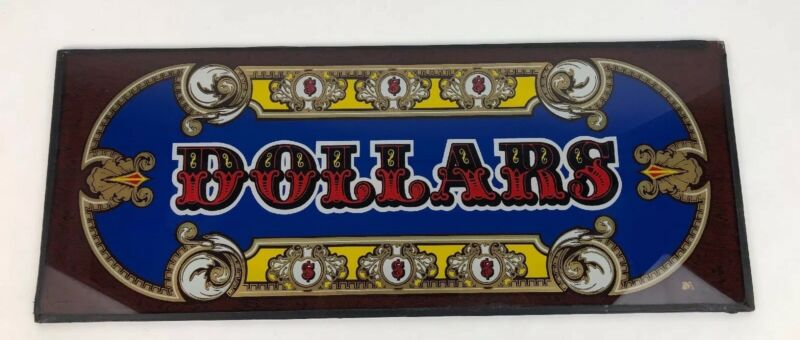 "Rare Slot Machine Graphic Glass, ""Dollars"" Vegas Man Cave Sign $$ - FSTSHP"