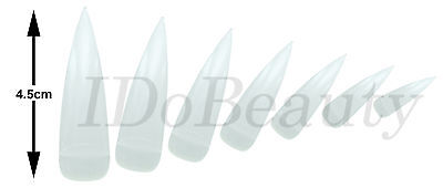 12 CLEAR MEDIUM LONG STILETTO POINT SALON FALSE NAIL TIPS NAILS TIP 4.5cm