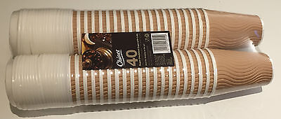 40 x 12oz Chinet Hot Coffee/Tea/Drink Cups With Lids Takeaway Mug Cafe Cardboard