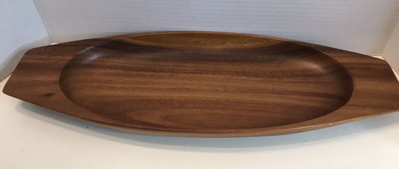 """Large Oval Monkey Pod Wood Serving Dish 18.5 x 7 """" MCM Vintage Great For A Luau"""