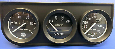 Auto Meter Autogage 2397 Black Three Gauge Consol Oil Pressure Volt Water Temp