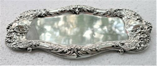 ANTIQUE GORHAM STERLING SILVER PIN VANITY DRESSER TRAY ORNATE REPOUSSE FLORAL