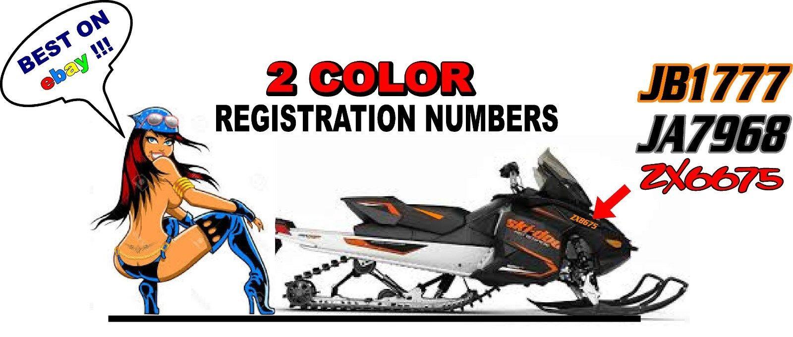 "Custom Snowmobile Registration 2"" Numbers Pair Decals Sticker Vinyl 2 Color!!!!"