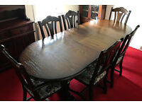 Dining room suite (table, 6x chairs, dresser/chest of drawers + bookcase)