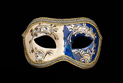 MASK VENICE COLOMBINE NIGHT AND DAY BLUE FOR COSTUME 802 V12B