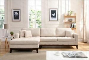 Sprung Back Linen-blend 2 Webbed Seaters Fabric Modular Sofa