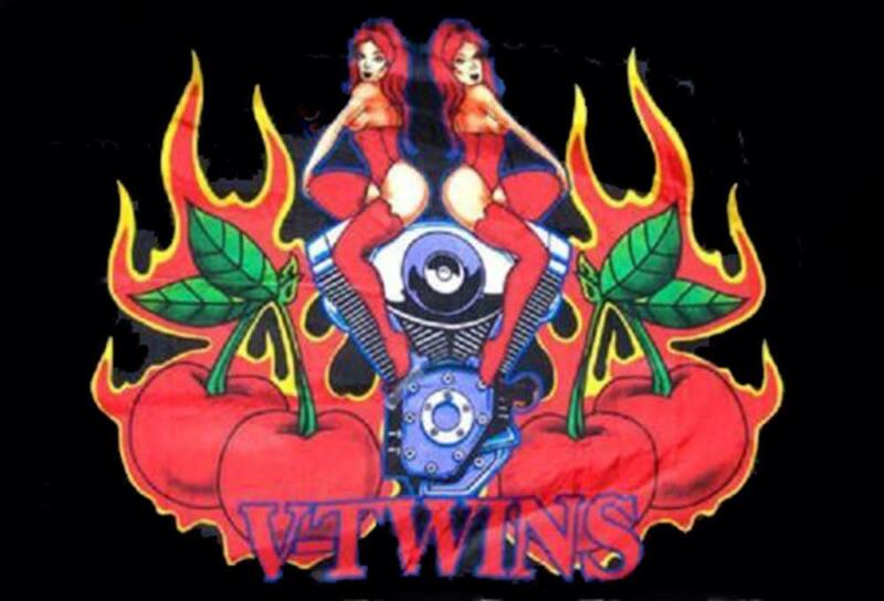 huge VTWIN MOTORCYCLE ENGINE CHICKS CHERRIES  3 X 5 FLAG novelty  new 3x5 #FL364