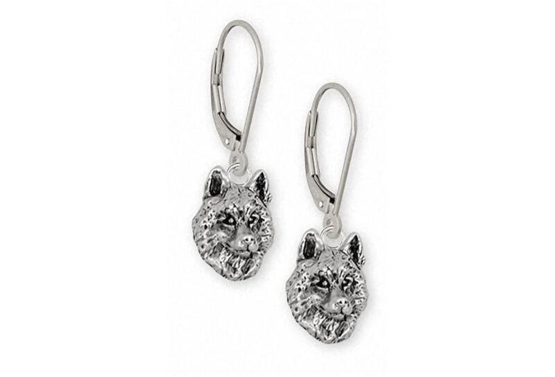 Siberian Husky Earrings Jewelry Sterling Silver Handmade Dog Earrings SB3-E