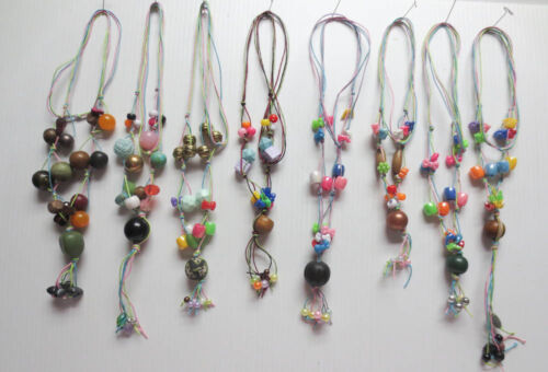 LOT OF 8 DANGLING WOOD PLASTIC METAL ASSORTED BEAD CONTINUOUS NECKLACES L56