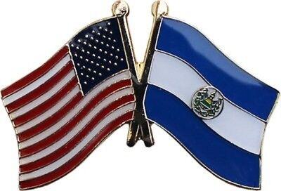 USA American El Salvador Friendship Flag Bike Motorcycle Hat Cap lapel Pin