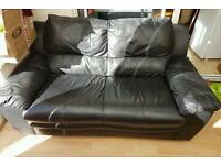 Real leather black 2 seater sofa