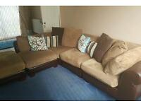 San Marco Midi Fabric/Leather Brown Corner Sofa
