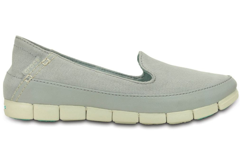 NIB Crocs Women Stretch Sole Skimmer Gray Canvas Comfortable Shoes
