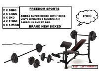 ADIDAS WEIGHTS BENCH WITH 100KG VINYL WEIGHTS SET 2 DUMBELLS AND BARBELLS EZ BAR