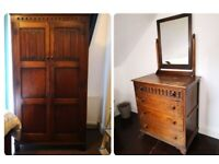 Antique wardrobe & matching chest of drawers