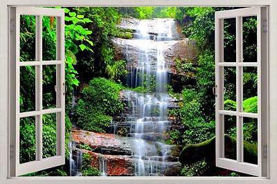 WATERFALL FOREST Dinosaur Fantasy 3D Window View Decal WALL STICKER Art - Dinosaur Stickers