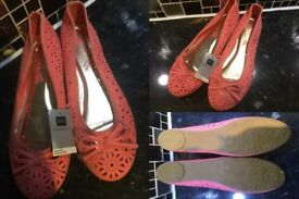 BHS Deep Coral Flat Shoes New Tagged Cost £14