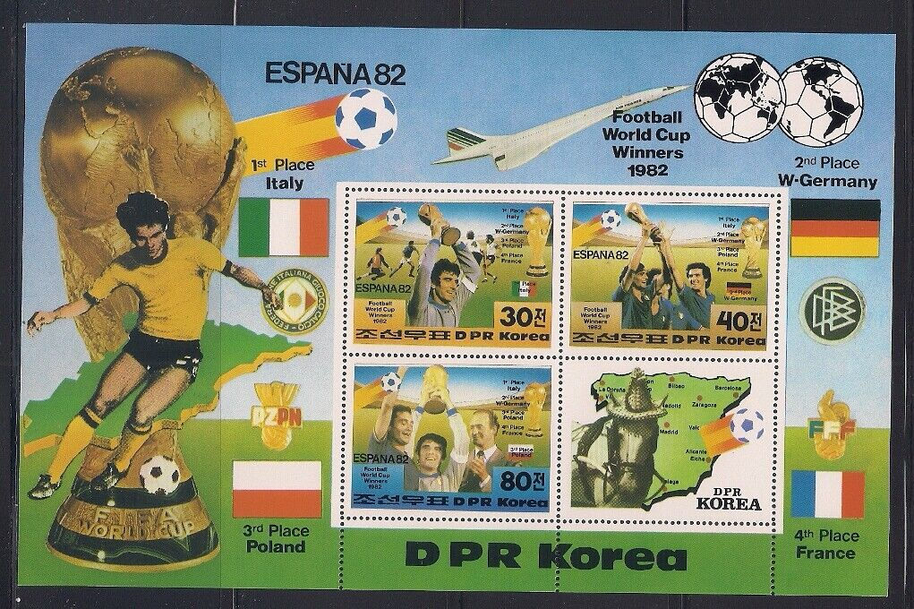 Korea... 1982 Sc 2226 W. Cup Soccer Sheet Of 3 Label MNH 47994  - $4.99