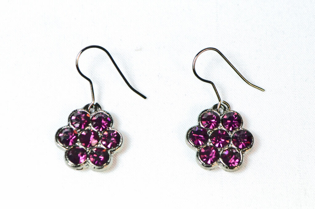 Las Gun Metal Enchanting Purple Stone Earrings Unique Statement Zx9