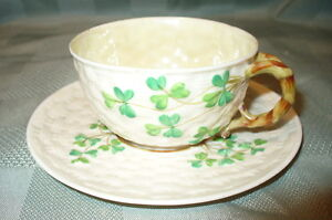 Belleek shamrock cup & saucer
