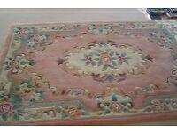 Woolen Chinese rug, floral pink/cream pattern