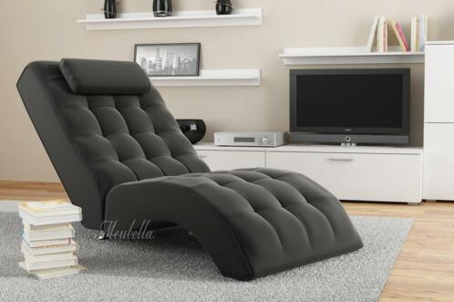 ligstoel cherry zwart leer 1 jaar garantie chaise longue banken sofa 39 s en chaises. Black Bedroom Furniture Sets. Home Design Ideas