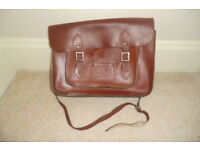 VINTAGE STYLE CLASSIC LEATHER CHESTNUT SCHOOL SATCHEL BAG