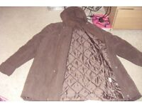 SIZE 14 CHOCOLATE BROWN HOODED COAT QUILTED INSIDE