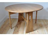 Vintage Retro 60's style Ercol gate leg oval circular table (model 1156)