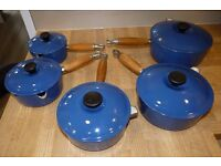 Le Crueset 5 piece cast iron pot set, Marseille Blue