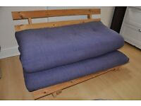 Double futon with wooden frame and mattress