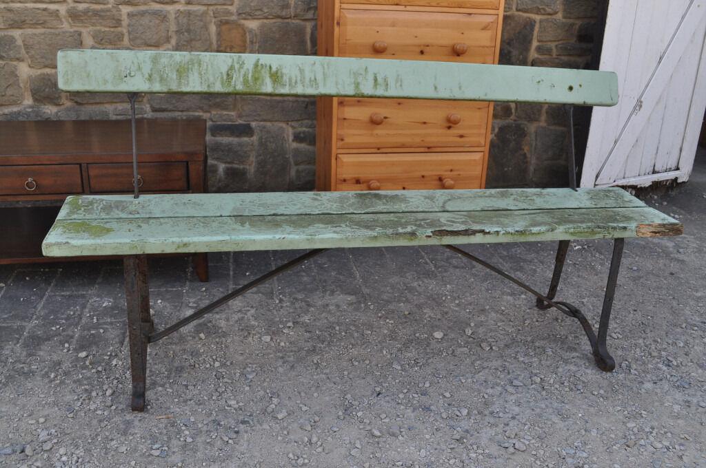 Vintage Cast Iron Garden Bench Mid Century Industrial