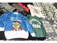 AGE 11-12 YEARS SELECTION OF BOYS CLOTHES CHRISTMAS JUMPER, T-SHIRTS